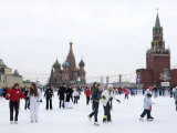 Ice Skating in Red Square, UNESCO World Heritage Site, Moscow, Russia, Europe Photographic Print by Lawrence Graham