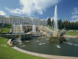 Fountains in Front of the Summer Palace at Petrodvorets in St. Petersburg, Russia, Europe Photographic Print by Gavin Hellier