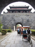 Tourist Rickshaw at a City Gate Watch Tower, Qufu City, Shandong Province, China Photographic Print by Kober Christian