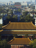 Temple Buildings in Jingshan Park Looking Down to the Drum Tower in the Distance, Beijing, China Photographic Print by Kober Christian