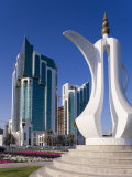 Twin Towers and Teapot Sculpture, Ad Dawhah, Doha, Qatar, Middle East Photographic Print by Gavin Hellier
