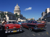 Street Scene of Old American Automobiles Near the Capitolio Building in Central Havana, Cuba Photographic Print by Mawson Mark