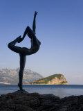 Statue Sillhouetted Against St. Nikola Island, Budva, Montenegro, Balkans, Europe Photographic Print by Gavin Hellier