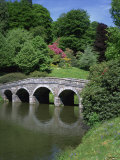 Bridge and Lake, Stourhead, National Trust Property, Wiltshire, England, United Kingdom, Europe Photographic Print by Hunter David