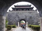 Tourist Rickshaw at a City Gate Watch Tower, Qufu City, Shandong Province, China Photographic Print by Kober Christian