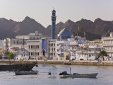View Along the Corniche, Latticed Houses and Mutrah Mosque, Mutrah, Muscat, Oman, Middle East Photographic Print by Gavin Hellier