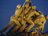 Statues of the U.S. Marine Corps on the Iwo Jima Memorial at Night in Arlington, Virginia, USA Photographic Print by Hodson Jonathan