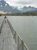 Blonde Woman Walks to the End of Dock on Lago Grey, Torres Del Paine, Chile, South America Photographic Print by McCoy Aaron