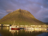 Boats in Harbour at Dusk, Bolungavik, Iceland, Polar Regions Photographic Print by Lomax David
