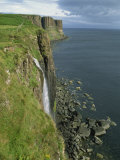 Waterfall over Cliff into the Sea, the Kilt Rock, Isle of Skye, Scotland, United Kingdom, Europe Photographic Print by Hughes David
