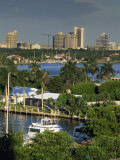Aerial View over Boats and Houses on the Harbour with Fort Lauderdale Skyline Behind, Florida, USA Photographic Print by Miller John