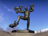 Statue of a Man and Babies, Frogner Park, Oslo, Norway, Scandinavia, Europe Photographic Print by Hart Kim