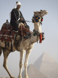 Bedouin Guide on Camel-Back Overlooking the Pyramids of Giza, Cairo, Egypt Photographic Print by Mcconnell Andrew
