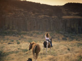 Woman Riding Horse, Odessa, Eastern Washington State, United States of America, North America Photographic Print by McCoy Aaron
