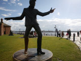 Statue of Billy Fury by Albert Dock and the Mersey River, Liverpool, Merseyside, England, UK Photographic Print by Levy Yadid