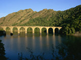 Lac De Villefort and Railway Viaduct, Cevennes, Lozere, Languedoc-Roussillon, France, Europe Photographic Print by Hughes David