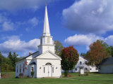 White Wooden Church in the Shaker Village of Canterbury, New Hampshire, New England, USA Photographic Print by Rainford Roy