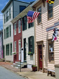 American Flag on Wooden Buildings on a Street in Annapolis, Maryland, USA Photographic Print by Hodson Jonathan