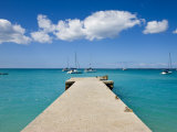Wooden Pier on the Beach at Grand-Case on the French Side, St. Martin, Leeward Islands, West Indies Photographic Print by Gavin Hellier