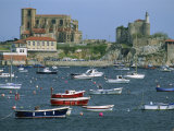 Moored Boats and the 12th Century Church of Santa Maria, Castro Urdiales, Cantabria, Spain Photographic Print by Maxwell Duncan