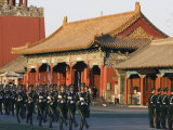 Military Soldiers Drill Marching Outside the Forbidden City Palace Museum, Beijing, China Photographic Print by Kober Christian