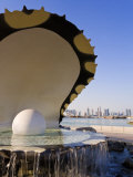 Pearl Momument on the Corniche of Doha Bay, Doha, Qatar, Middle East Photographic Print by Gavin Hellier