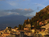 Aerial View over Town of Taormina at Dusk, Including Mount Etna, 3340M, in Distance, Sicily, Italy Photographic Print by Maxwell Duncan