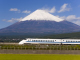 Shinkansen Passing Mount Fuji, Blurred Motion, Honshu, Japan Photographic Print by Gavin Hellier