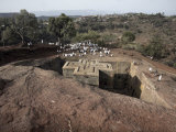Sunday Mass Celebrated at the Rock-Hewn Church of Bet Giyorgis, in Lalibela, Ethiopia Photographic Print by Mcconnell Andrew