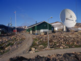 Telecommunications Dish, Ittoqqortoormiit, East Greenland, Greenland, Polar Regions Photographic Print by Lomax David