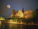 Notre Dame Cathedral at Night, with Moon Rising Above, Paris, France, Europe Photographic Print by Howell Michael