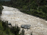 Backpacker Crosses Bridge over Urubamba River, on the Inca Trail, Peru, South America Photographic Print by McCoy Aaron