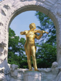 Gold Statue of the Musician Johann Strauss in Vienna, Austria, Europe Photographic Print by Richardson Rolf