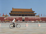 Man Cycling Through Tiananmen Square, Forbidden City, Beijing, China Photographic Print by Scholey Peter