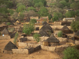 High Angle View of Round Thatched Village Houses, El Geneina, Darfur, Sudan, Africa Photographic Print by Taylor Liba