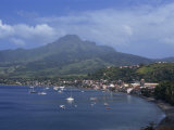 Saint Pierre Bay, with Mont Pele Volcano, Martinique, West Indies, Caribbean, Central America Photographic Print by Thouvenin Guy