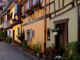 Timbered Houses on Cobbled Street, Eguisheim, Haut Rhin, Alsace, France, Europe Photographic Print by Richardson Peter