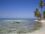 Tourist in Sea Cayak, Silk Caye, Belize, Central America Photographic Print by Jane Sweeney