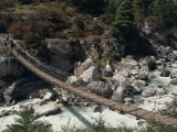 High Angle View of Trekkers Crossing Rope Bridge over a River in Everest Region, Nepal Photographic Print by Wright Alison