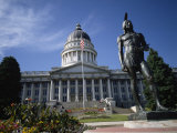 Statue of an American Indian in Front of the State Capitol Building in Salt Lake City, Utah, USA Photographic Print by Renner Geoff