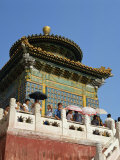 Visitors on the White Dagoba in Beihai Park in Beijing, China Photographic Print by Scholey Peter