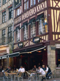 Restaurant and Bar in the Place Du Vieux Marche, Rouen, Seine-Maritime, Haute Normandie, France Photographic Print by Tomlinson Ruth