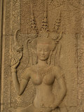 Wall Carving Depicting an Apsara at Angkor Wat, Siem Reap, Cambodia, Indochina, Southeast Asia Photographic Print by Traverso Doug