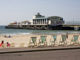 Deckchairs, Beach and Pier, Bournemouth, Dorset, England, United Kingdom, Europe Photographic Print by Rainford Roy