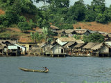 Pirogue, Adjoukron Fishing Village on Lagoon, Tiegba, Ivory Coast, Africa Photographic Print by Rawlings Walter