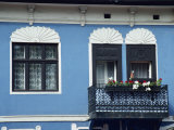 Blue and White House with Balcony at Szentendre, Hungary, Europe Photographic Print by Rennie Christopher