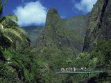 Tourists Crossing Bridge under the Maui Iao Needle, Hawaii, United States of America, North America Photographic Print by Tovy Adina