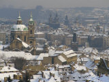 Skyline of the City of Prague in the Winter, with Snow on the Roofs, Czech Republic, Europe Photographic Print by Taylor Liba
