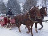 Horse Drawn Sleigh Making for Pontressina in a Snow Storm, in Switzerland, Europe Photographic Print by Woolfitt Adam
