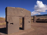 Gate of the Sun at the Site of Tiahuanaco, Lake Titicaca, in Bolivia Photographic Print by Simanor Eitan